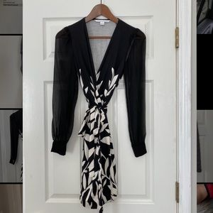DVF silk wrap dress with mesh sleeves in sz 0